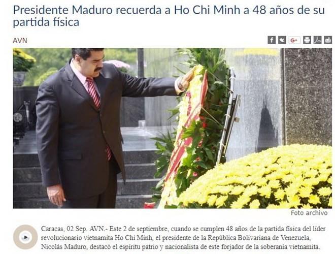 ປະທານາທິບໍດີ ເວເນຊູເອລາ Nicolas Maduro ຍ້ອງຍໍສັນລະເສີນປະທານໂຮ່ຈິມິນ - ảnh 1