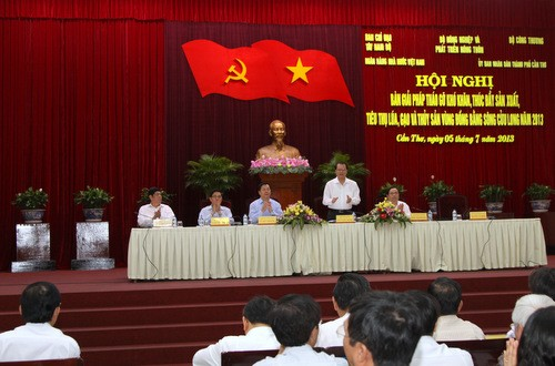 Konferensi untuk membahas solusi mengatasi kesulitan bagi perikanan di daerah dataran rendah sungai Mekong.   - ảnh 1