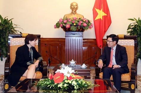Deputi PM, Menlu Pham Binh Minh menerima Dubes Italia, Cecilia Piccioni - ảnh 1