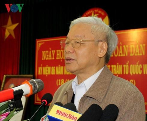 Sekjen  KS PKV, Nguyen Phu Trong menghadiri Festival Persatuan Besar Nasional di provinsi Bac Ninh - ảnh 1