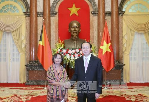Presiden Vietnam, Tran Dai Quang menerima para Dubes yang datang menyampaikan surat mandat - ảnh 1