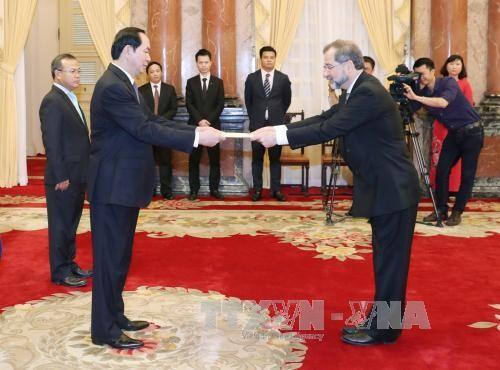 Presiden Vietnam, Tran Dai Quang menerima para Dubes yang datang menyampaikan surat mandat - ảnh 2