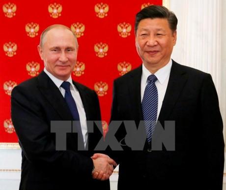 Presiden Rusia menyambut Presiden Tiongkok di Istana Kremlin - ảnh 1