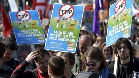 米欧FTAに反対=欧州各地でデモ - ảnh 1