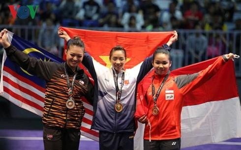 Wushu vietnamita gana dos medallas de oro en sus primeras competencias en Seagames 29 - ảnh 1
