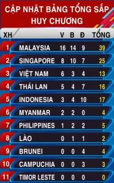 Vietnam sube al tercer puesto en las competiciones deportivas del Sudeste de Asia - ảnh 1