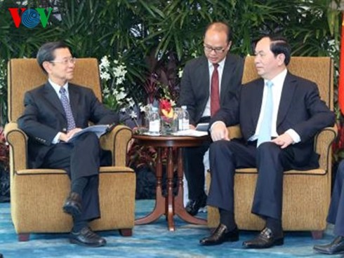 President Quang receives leaders of Singapore's major groups - ảnh 2