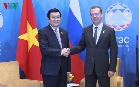 越南国家主席张晋创会见俄罗斯总理梅德韦杰夫 - ảnh 1
