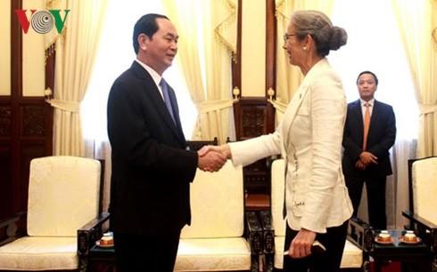 越南国家主席陈大光会见各国驻越大使 - ảnh 1