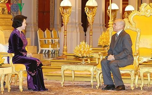 阮氏金银会见柬埔寨参议院主席赛宗并拜会柬国王西哈莫尼 - ảnh 2