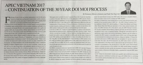 日本报纸刊登越南工贸部部长陈俊英撰写有关2017 APEC 的文章 - ảnh 1