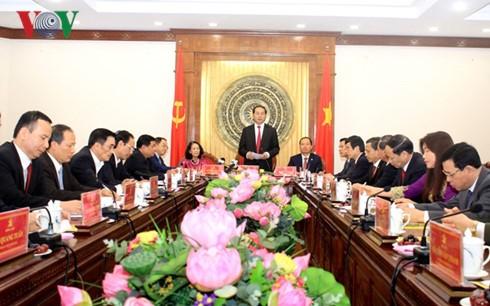 Staatspräsident Tran Dai Quang führt Sitzung mit Leitung der Provinz Thanh Hoa - ảnh 1