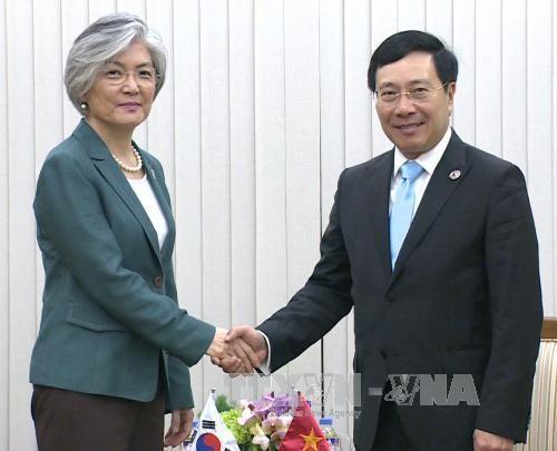 Pham Binh Minh rencontre les ministres japonais et sud-coréenne des Affaires étrangères - ảnh 1
