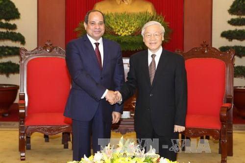 Le secrétaire général Nguyen Phu Trong reçoit le président égyptien - ảnh 1