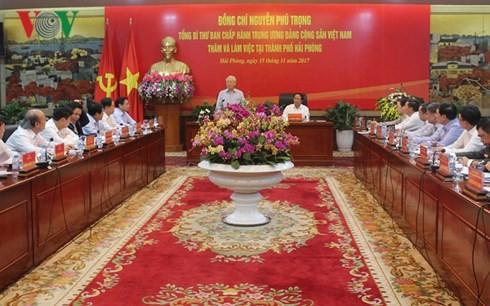 Nguyen Phu Trong appelle Haiphong à mieux exploiter son potentiel  - ảnh 1