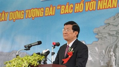 Staatspräsident beim Baubeginn des Ho Chi Minh - Denkmals in Tuyen Quang - ảnh 1