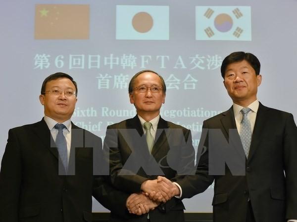 Verhandlungsrunde über Freihandelsabkommen zwischen Südkorea, China und Japan  - ảnh 1