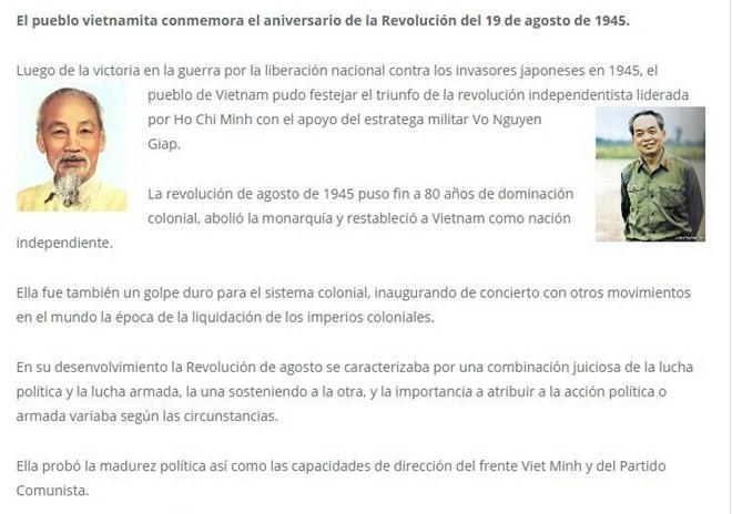 Medien Argentiniens berichten über Bedeutung vietnamesischer August-Revolution - ảnh 1
