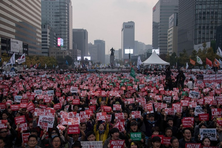 Pemerintah Republik Korea mengimbau kepada para demonstran supaya menghormati hukum - ảnh 1