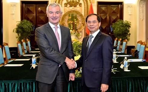 Konsultasi politik antara Deputi Menlu Vietnam, Bui Thanh Son dan Sekjen Kementerian Luar Negeri dan Eropa dari Belgia, Dirk Achten - ảnh 1