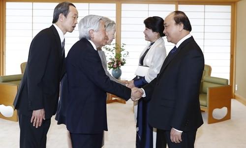 Thủ tướng Nguyễn Xuân Phúc hội kiến Nhà vua và Hoàng hậu Nhật Bản - ảnh 1