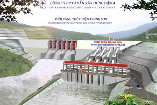 Phó Thủ tướng Hoàng Trung Hải phát lệnh khởi công dự án thủy điện Trung Sơn - ảnh 1