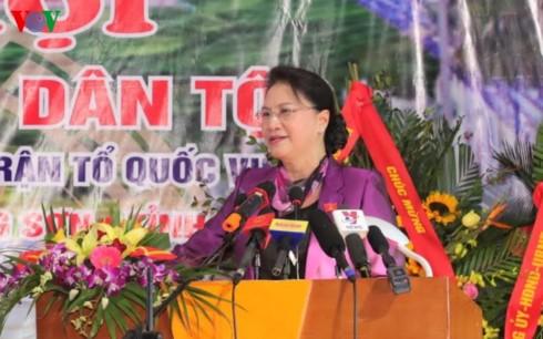 Chủ tịch Quốc hội Nguyễn Thị Kim Ngân dự Ngày hội đại đoàn kết toàn dân tộc tại tỉnh Hòa Bình - ảnh 1