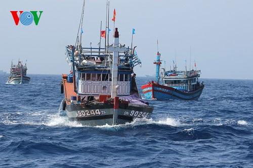 Pescadores vietnamitas mantienen trabajo con valentía en aguas violadas por China - ảnh 17