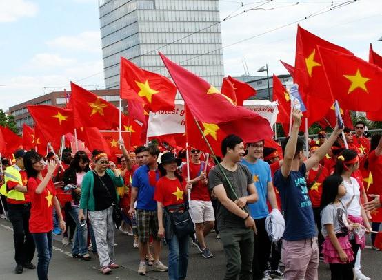 Compatriotas en Alemania marchan en protesta por la infracción china en el Mar Oriental - ảnh 1