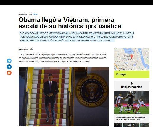 Medios de Argentina e Italia publican informaciones sobre la visita de Obama a Vietnam  - ảnh 1