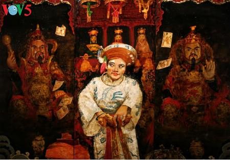 Culto a las Diosas Madres reflejado en pinturas de laca de Tran Tuan Long - ảnh 15