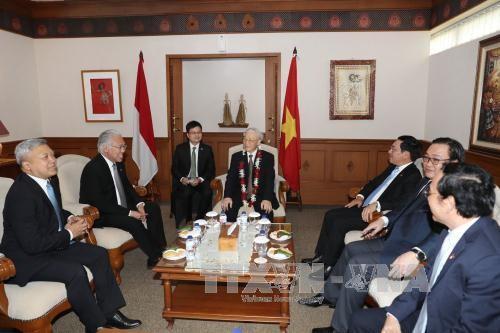 Líder político de Vietnam se reúne con el presidente de la Cámara Baja indonesia - ảnh 1