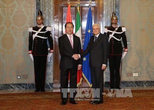 Presiden Tran Dai Quang melakukan pembicaraan dengan Presiden Italia, Sergio Mattarela - ảnh 1
