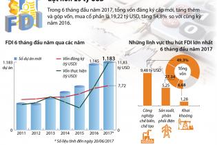Vietnam dalam 6 bulan awal tahun menyerap kira-kira 20 miliar dolar AS modal FDI - ảnh 1