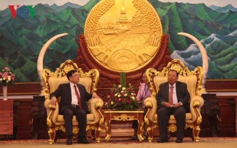 Delegasi Pengurus Besar Asosiasi Persahabatan Vietnam-Laos beraudiensi kepada para pemimpin Laos - ảnh 1