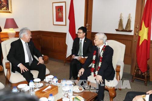 Sekjen KS PKV Nguyen Phu Trong memulai kunjungan resmi di Indonesia - ảnh 8