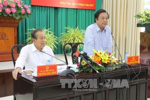 Deputi Harian PM Vietnam, Truong Hoa Binh melakukan temu kerja dengan Propinsi Dong Thap - ảnh 1