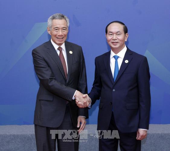 Pres. Vietnam, Tran Dai Quang menerima PM Singapura, Lee Hsien Loong - ảnh 1
