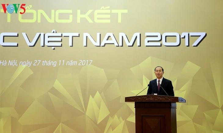 Presiden Tran Dai Quang menghadiri Acara evaluasi Tahun APEC 2017 - ảnh 1