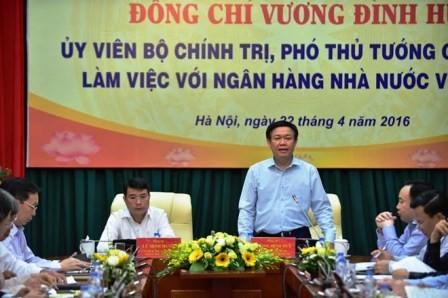 Phó Thủ tướng Vương Đình Huệ làm việc với Ngân hàng Nhà nước - ảnh 1