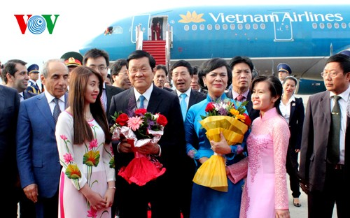 Chủ tịch nước Trương Tấn Sang bắt đầu thăm chính thức Azerbaijan  - ảnh 2