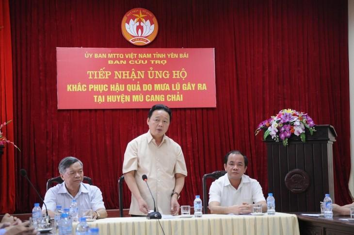 Bộ trưởng Bộ Tài Nguyên và Môi trường thị sát tình hình thiên tai hỗ trợ nhân dân vùng lũ Yên Bái - ảnh 1