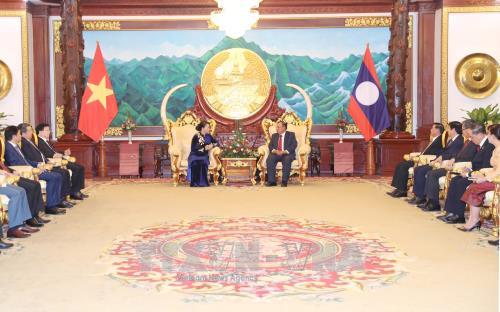Chủ tịch Quốc hội Nguyễn Thị Kim Ngân chào xã giao Tổng Bí thư, Chủ tịch nước Lào Bounnhang Volachit - ảnh 1