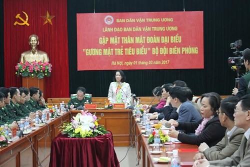 """Trưởng Ban dân vận TW Trương Thị Mai tiếp đoàn đại biểu """"Gương mặt trẻ tiêu biểu"""" Bộ đội biên phòng - ảnh 1"""