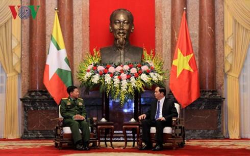 Президент Вьетнама принял главнокомандующего вооружённых сил Мьянмы - ảnh 1