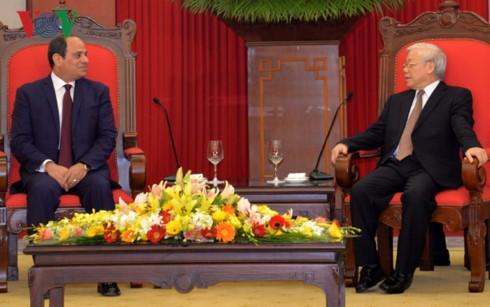 ผู้นำเวียดนามให้การต้อนรับประธานาธิบดีอียิปต์ - ảnh 1
