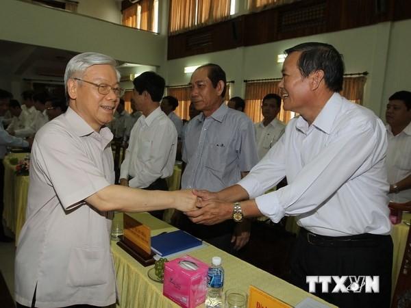 Генеральный секретарь ЦК КПВ Нгуен Фу Чонг посетил провинцию Ниньтхуан с рабочим визитом - ảnh 1
