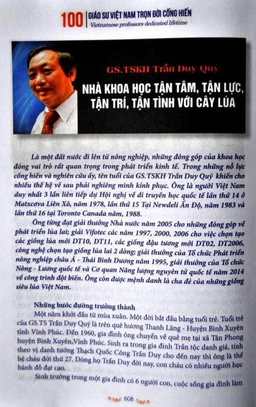 Tran Duy Quy, un científico talentoso del sector agrícola de Vietnam  - ảnh 1