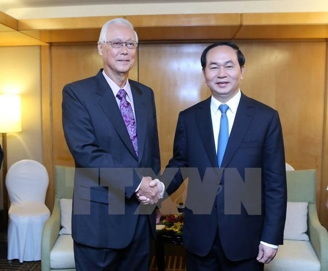 Staatspräsident Tran Dai Quang beendet den Staatsbesuch in Singapur - ảnh 1