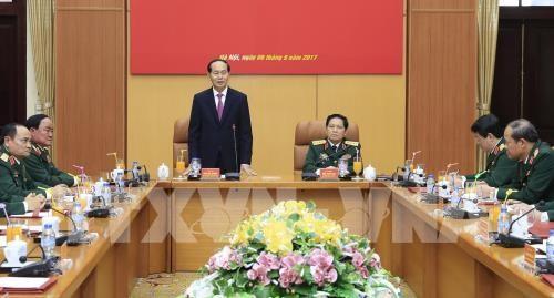 Staatspräsident Tran Dai Quang tagt mit Leiter des Verteidigungsministeriums - ảnh 1
